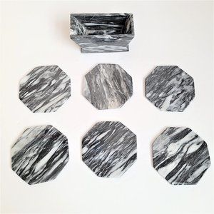 Set of 6 stone coasters with stand.